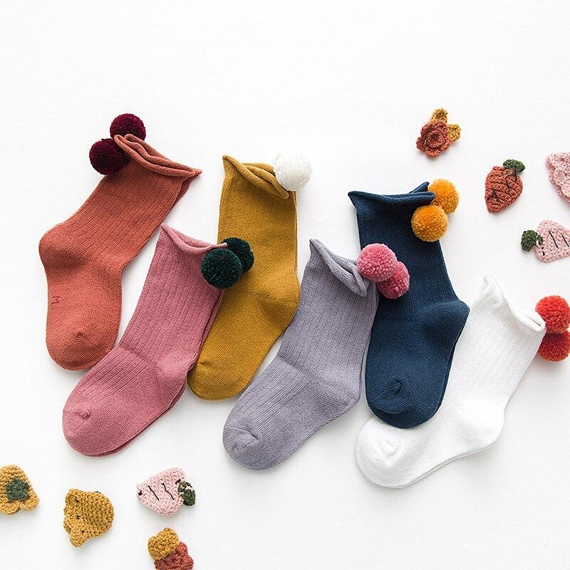 Baby Kid Girls Boys Toddler Socks Leg Cute Solid Color Hairball Cotton Knee High Socks Baby Girl 1-8T Kids