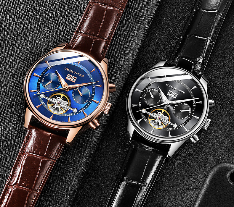 H1331a5579af34a8cae9ec78794a98a54V Skeleton Tourbillon Mechanical Watch Men Automatic Classic Rose Gold Leather Mechanical Wrist Watches Reloj Hombre 2018 Luxury