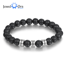 Personalized Stainless Steel Beaded Chain Name Engravd Bracelets for Men Customized Lava Tiger Eye Stone Bracelets Gifts for Him