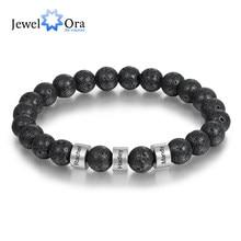 Bracelets en chaîne perlée en acier inoxydable pour hommes, Bracelets personnalisés en pierre d'oeil de tigre en lave, cadeaux pour lui
