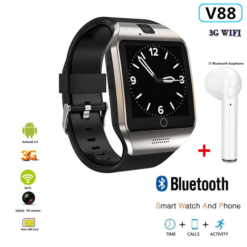 3G Wifi Android Smart Watch V88 Support Play Store Download APP Smart Clock Whatsapp Facebook Reminder 500W Camera Video PK QW09 image