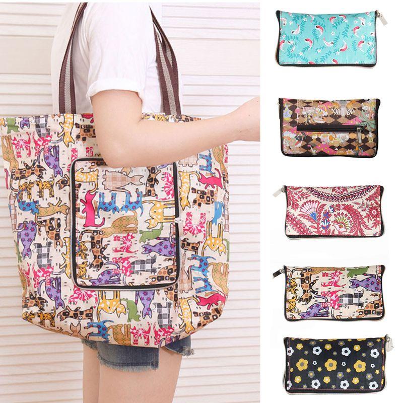 Oxford Shopping Bag Women Reusable Tote Foldable Shopper Fashion Travel Organizer Shoulder Bags