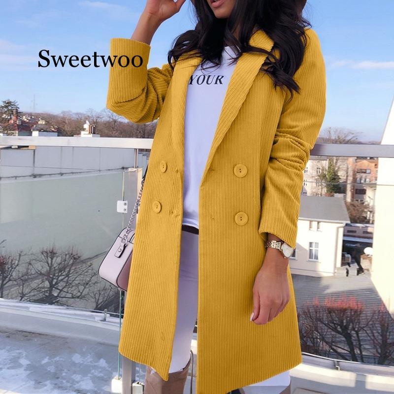 Fashion Slim Blazer Jacket Womens Coat Long Sleeve Elegant Double Breasted Clothes Jacket Coat Female Lady Plus Size