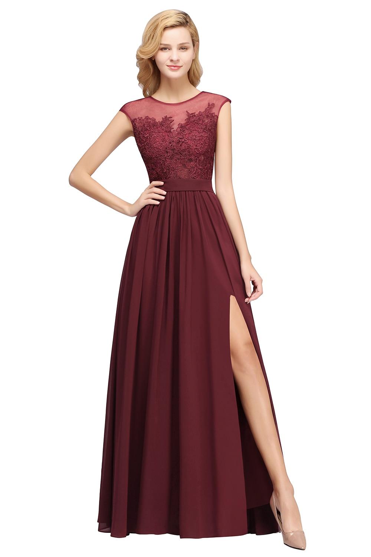 Burgundy Long Bridesmaid Dresses 2020 Wedding Party Guest Gown For Women Sleeveless Chiffon robe demoiselle d honneur