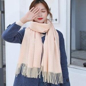 Image 4 - Bufanda de lana de Cachemira tejida, bufanda larga con calentador de Tessel, bufanda de moda para invierno, regalo de lujo para mujeres