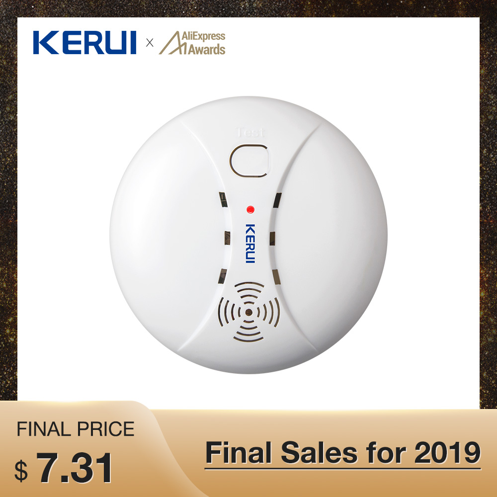 Kerui Wireless Linkable Sensitive Photoelectric Smoke Detector Fire Sensor For Wifi GSM Wireless Security Home Alarm System