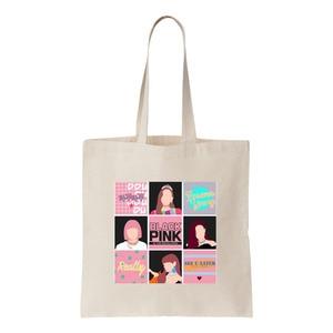 Модная Милая Холщовая Сумка-тоут Kpop Girl Group, сумки на плечо для женщин, большая сумка, Новая повседневная Корейская сумка для покупок с принтом в стиле Харадзюку