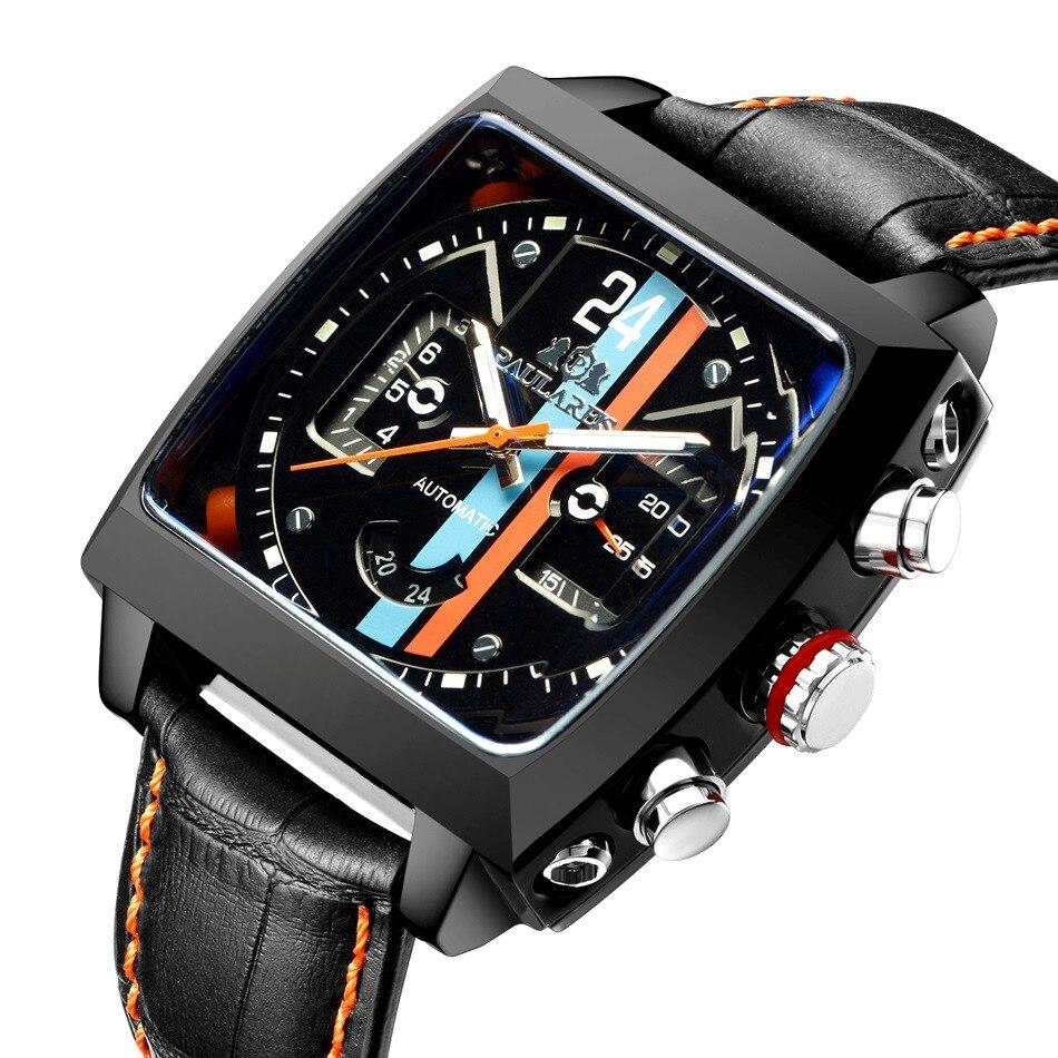 Монако-24 Для мужчин часы от топ бренда, роскошные часы Для мужчин шторка Автоматическая Tourbillon Бизнес Heuer механические наручные часы для мужч...
