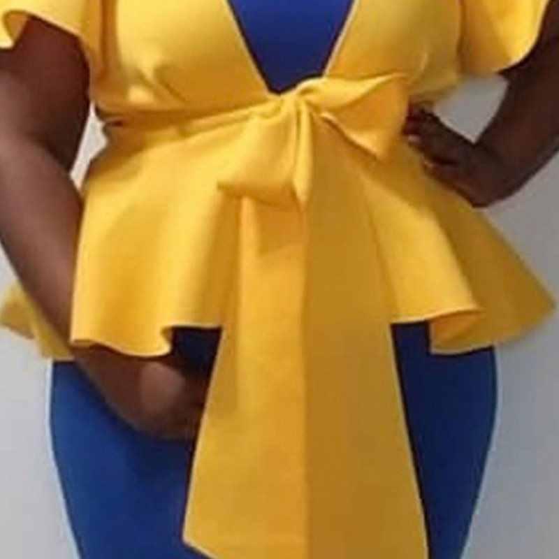 Plus Size Falbala Diepe V-hals Licht Gele Blouse Sexy 2019 Zomer Herfst Korte Mouw Tuniek Strik Peplum Ruches Afrikaanse top
