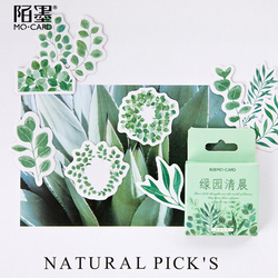 45pcs/pack Creative Green Garden Leaf Morning Sticker DIY Scrapbook Sticker Diary Sticky Notes Phone Decoration Stickers