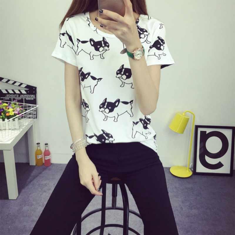Été chien imprimé t-shirt Camisas Femininas T-shirts pour femmes 2018 Poleras De Mujer Femme t-shirt hauts