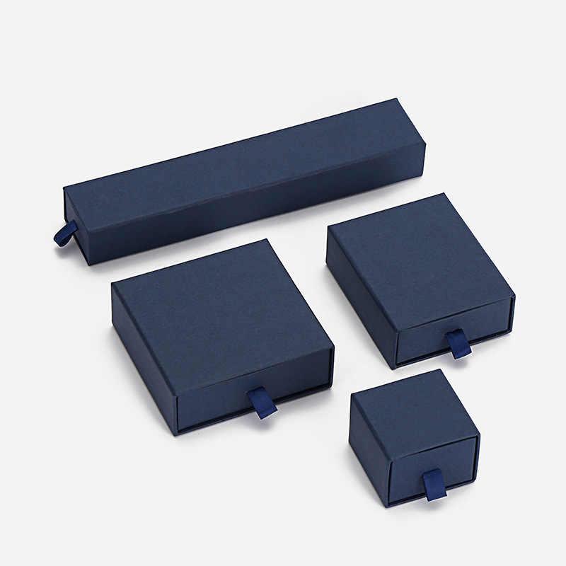 5*5*3.8CM pudełko z biżuterią na pierścionek zaręczynowy kolczyki naszyjnik wystawa bransoletek pudełka niebieski kolor