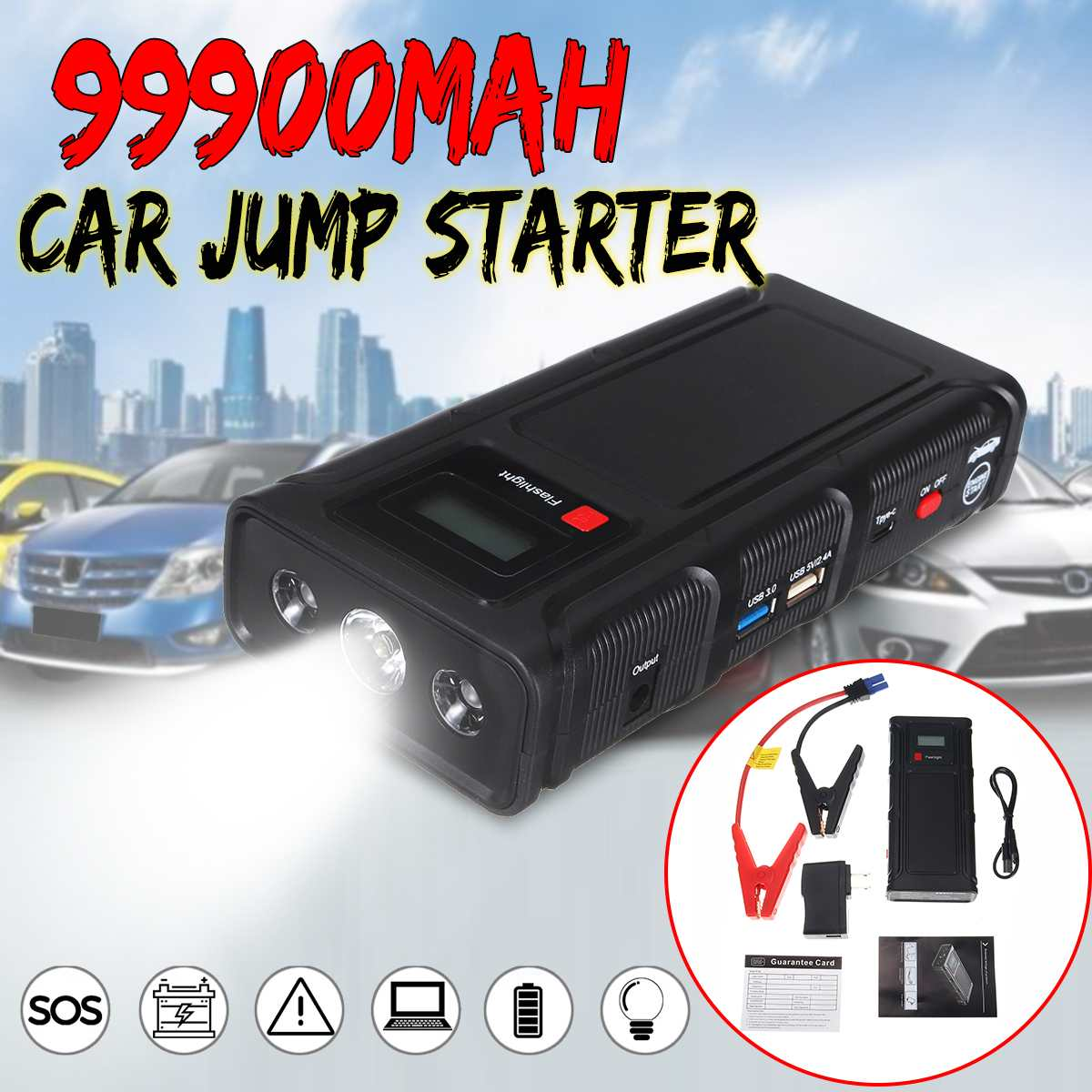 99900mAh Car Jump Starter Power Bank Portable Car Battery Booster Charger 12V Starting Device Petrol Diesel Car Starter Buster