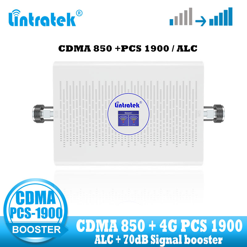 Lintratek CDMA PCS Signal Booster Repeater Celluar Mobile Phone Signal Amplifier 3G 4G  CDMA 850 PCS 1900 Dual Band Repeater