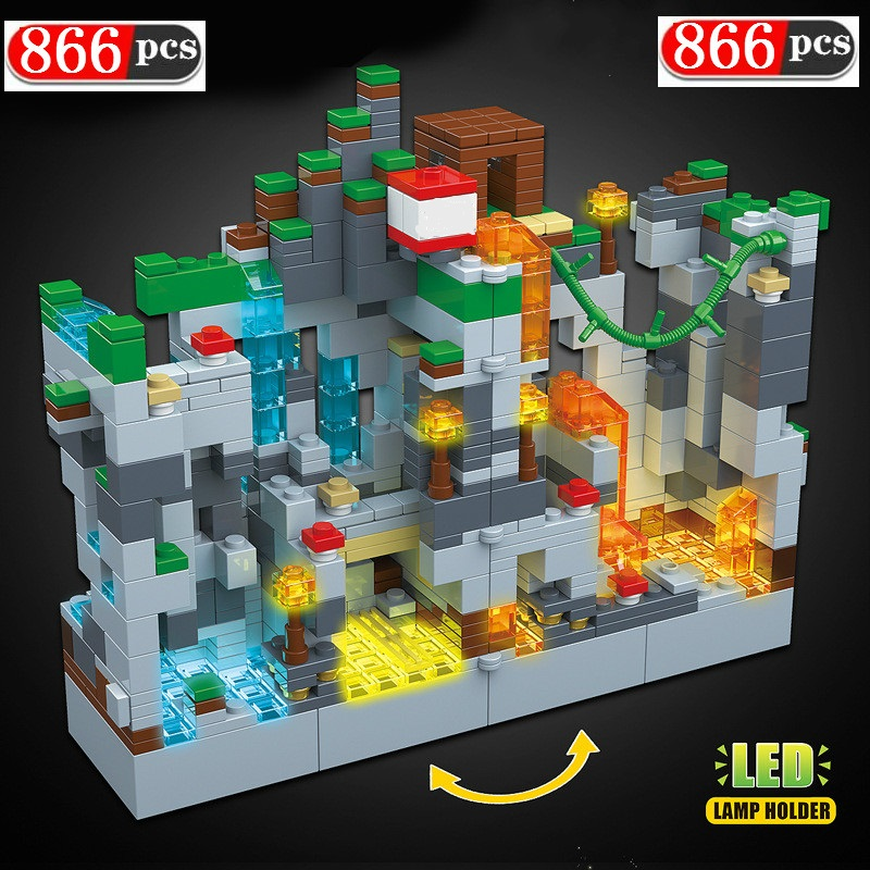 866PCS Building Blocks For LegoINGLYs Minecraftinglys Mine Cave Snow Zombie with Light Hell Jungle Steve Bricks Toys for Kids 1