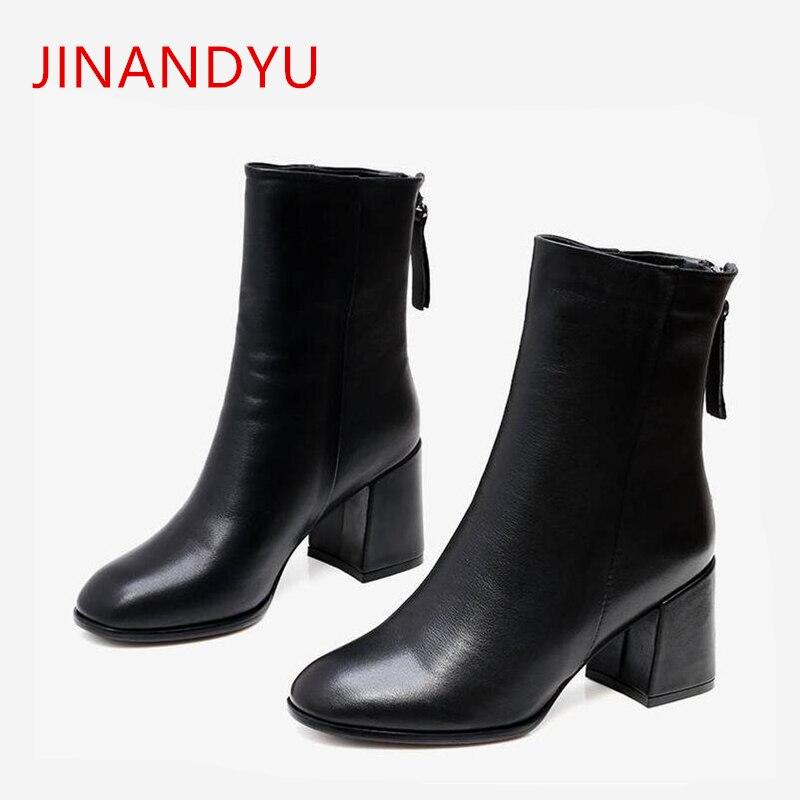 Купить женские черные ботильоны на каблуке женские модные кожаные вечерние