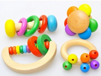 Free shipping Exquisite flower bell, childrens toys, rattles, log with the rainbow a set of four, Baby wooden toys