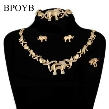 BPOYB gorąca sprzedaż Charms słoń Xoxo zestaw biżuterii dubaj Afican złoty kolor Jewelri naszyjnik kolczyk bransoletka pierścień 4 sztuk tanie i dobre opinie Ze stopu cynku CN (pochodzenie) Kobiety Metal TRENDY Earrings Necklace Bracelet Ring Naszyjnik kolczyki pierścień bransoletka