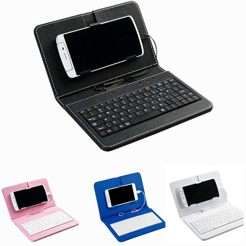 Caso portátil do telefone móvel do couro do plutônio teclado sem fio para o telefone móvel andriod protetor com teclado bluetooth