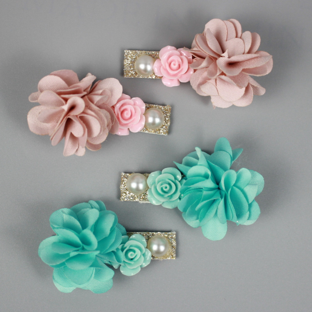 4pcs/set Fashionable Beautiful Pearl Flower Hairpin Rolled Rose Cloth Headdress Children Girl Hair Accessories