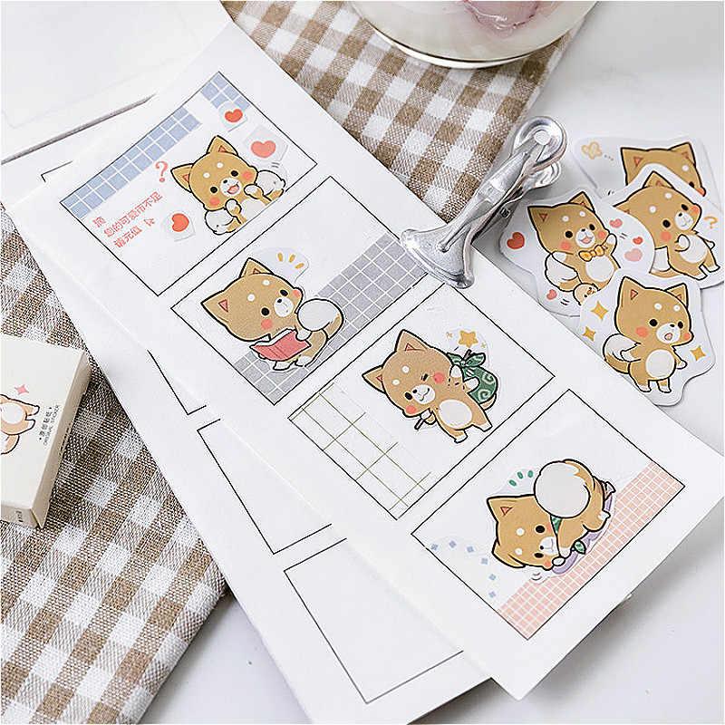 1 paket hassas Shiba Inu Washi bant temel renk kağıt Washi bant yapışkan bant DIY dekoratif etiket kırtasiye bantları