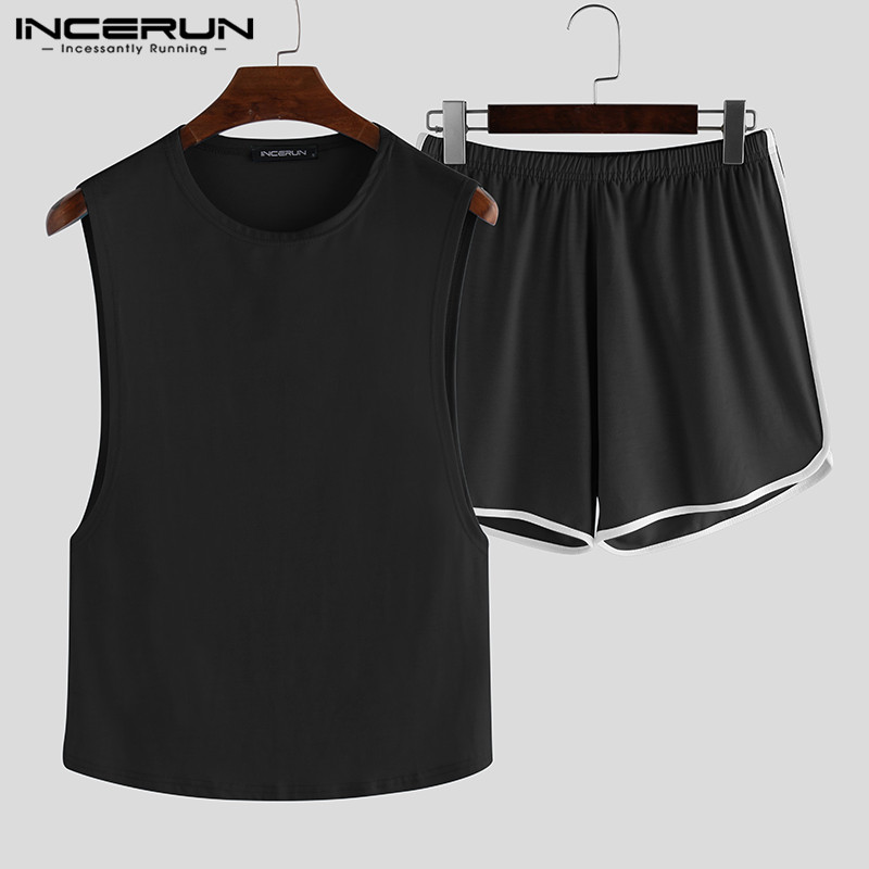 Fashion Men Pajamas Sets Sleeveless Tank Tops Shorts Breathable Solid Homewear Casual 2020 Sexy Sleepwear Sets Plus Size INCERUN