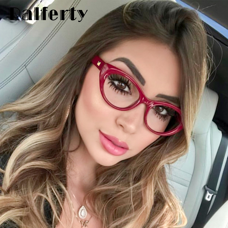 Ralferty High Quality Female Glasses Frame Cat Eye Vintage Eyeglasses Frame For Woman Transparent Points 2019 No Diopter F95154