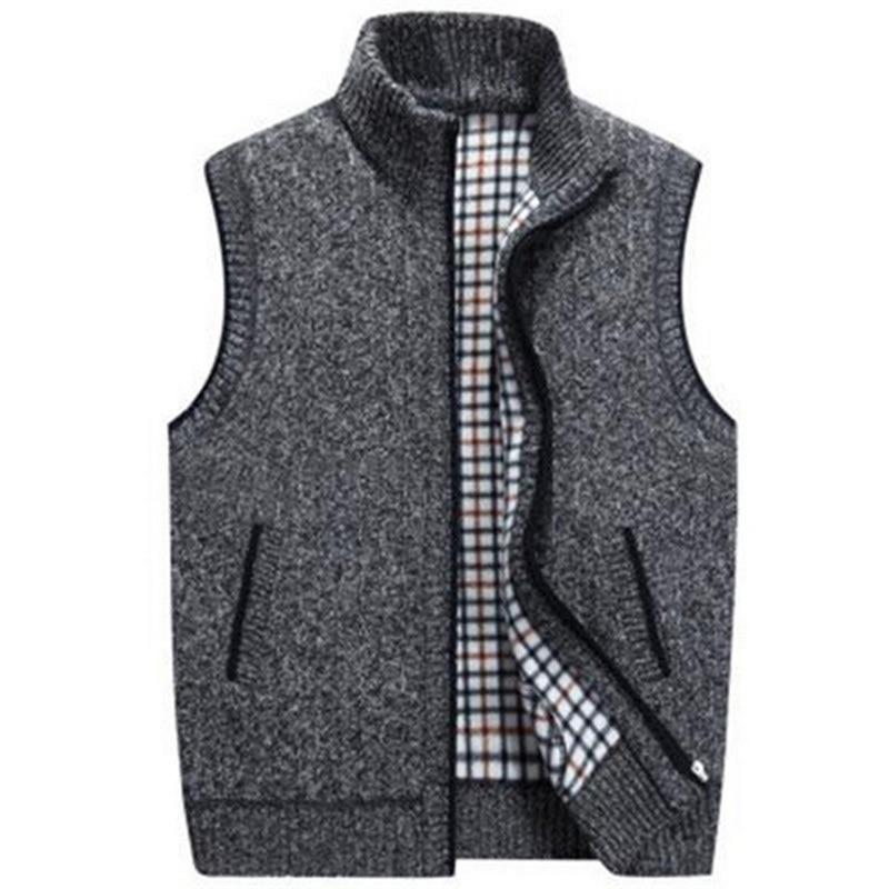 SHUJIN Mens Winter Spring Wool Sweater Vest Mens Sleeveless Knitted Vest Jacket Warm Fleece Sweatercoat Plus SIze