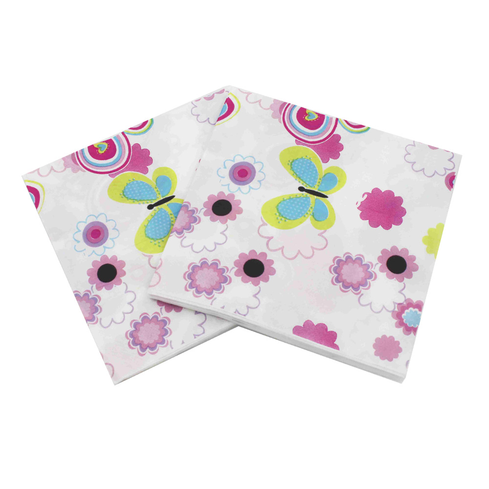 [Currently Available] Butterfly Flower Napkin Color Printed Napkin Tissue Creative Paper Towel