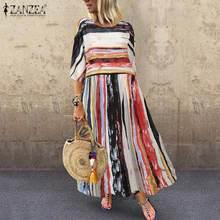 ZANZEA Fashion Bohemian Dress 2020 Summer Striped Patchwork Sundress Women Casual Short Sleeve Cotton Party Vestido Female Robe