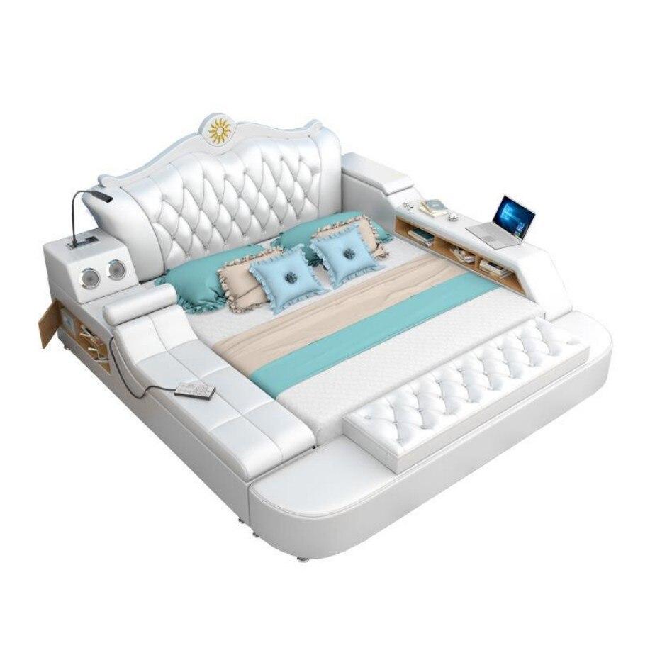 King Size Bedroom Furniture Genuine Leather Soft Bed Bedroom Furniture Tatami Soft Bed Hp005