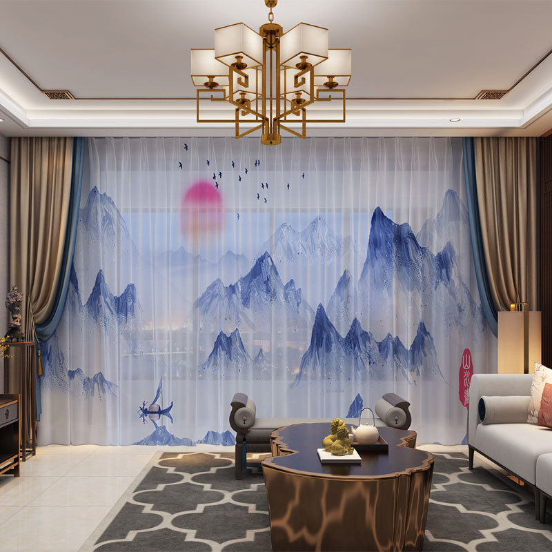 Mountains Landscape Chinese Style 3D Customized Photo Curtains Natural Drape Panel Sheer Tulle Curtains For Living Room Bedroom