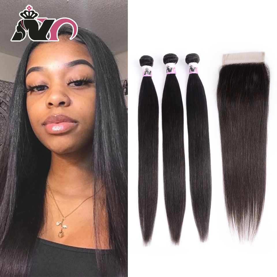 NY Hair Straight Hair Bundles With Closure Peruvian Weave Hair 3 Bundles With Closure Deals New Human Hair Bundles With Closure