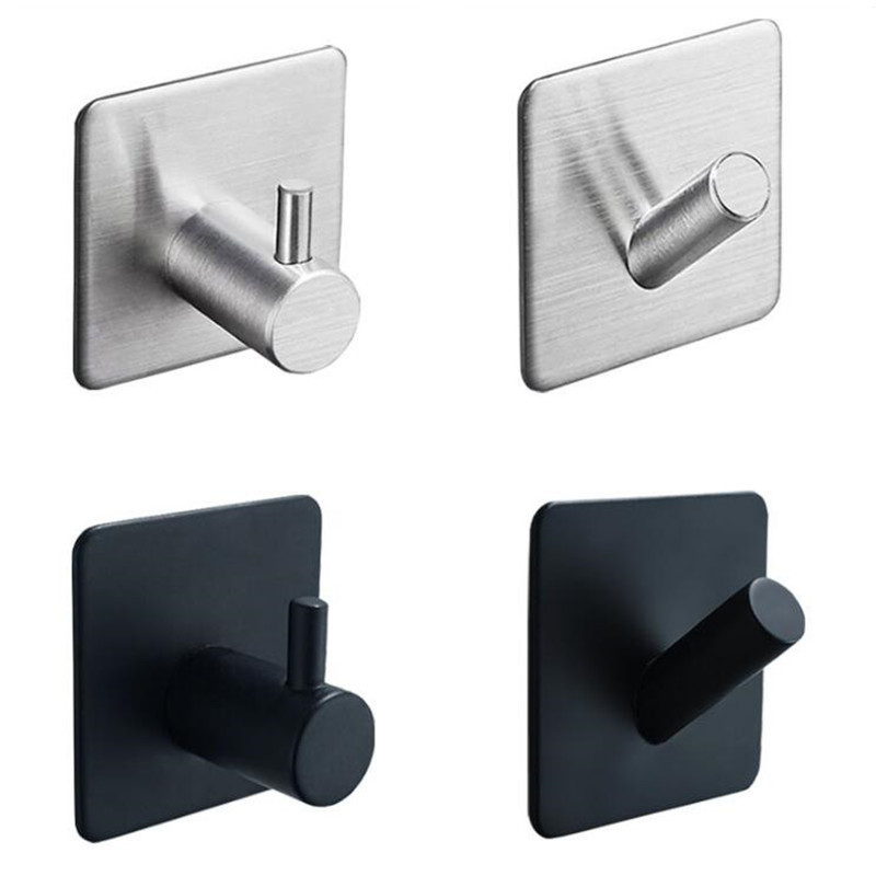 LIUYUE Single Hooks Black Stainless Steel Adhesive Bathroom Towel Hooks Family Hat Key Hooks Wall Free Of Nail Adhesive Kitchen