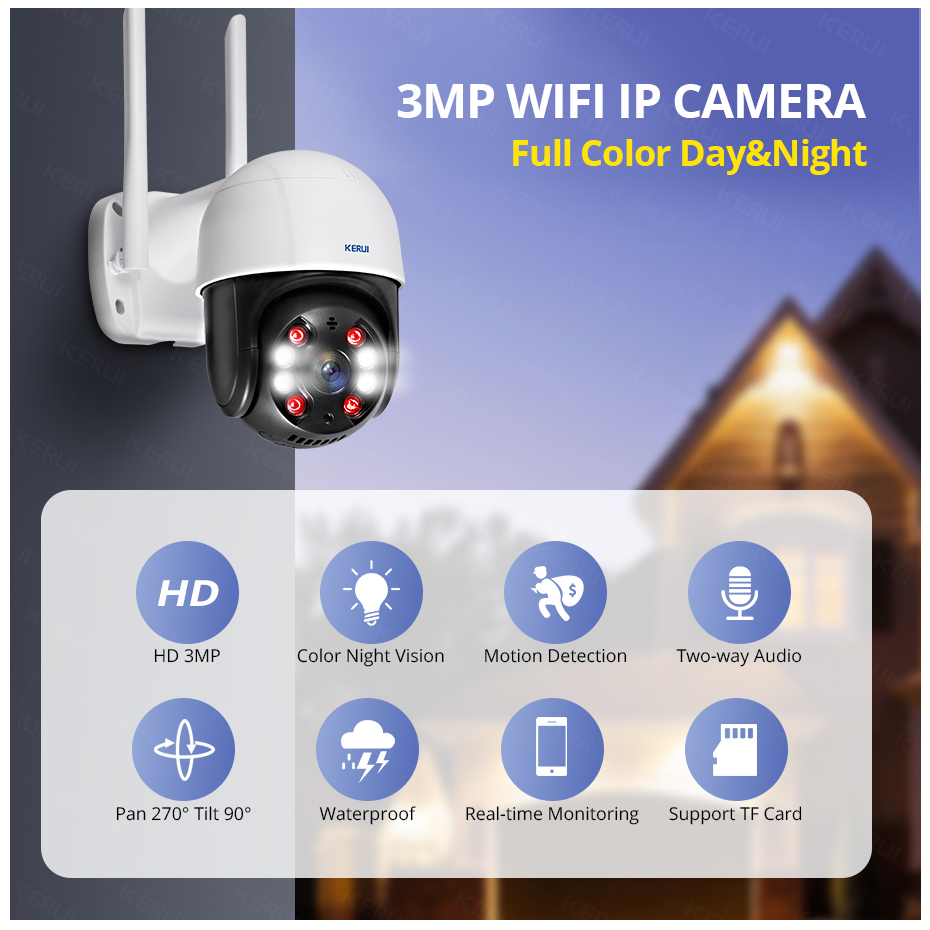 KERUI Outdoor Waterproof Wireless 3MP WiFi IP Camera Dome 4X PTZ Digital Zoom IR Camera Home Security Onvif CCTV Surveillance