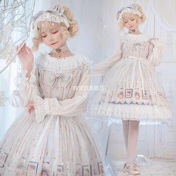 Vestido vintage de princesa dulce lolita con estampado de lazo cruzado, vestido victoriano con chica kawaii, vestido gótico de jsk loli cos
