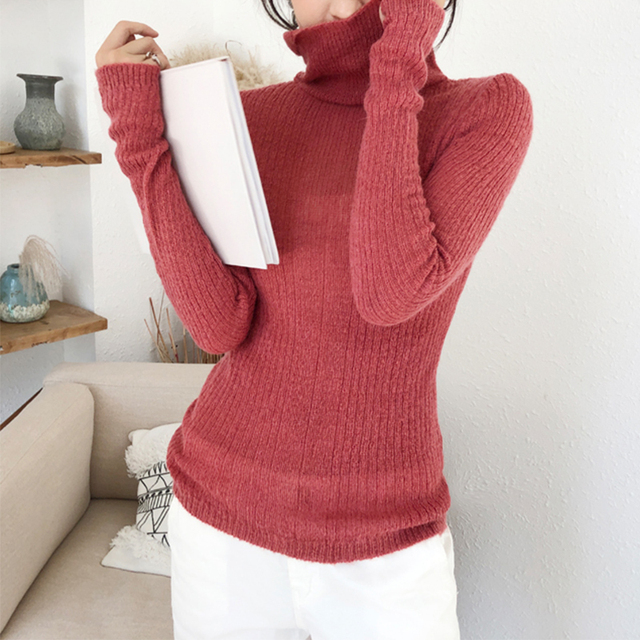 Ailegogo Spring Women Thin Turtleneck Sweater Casual Knitted Female Slim Fit Pullovers Korean Style Ladies Knitwear Tops 2
