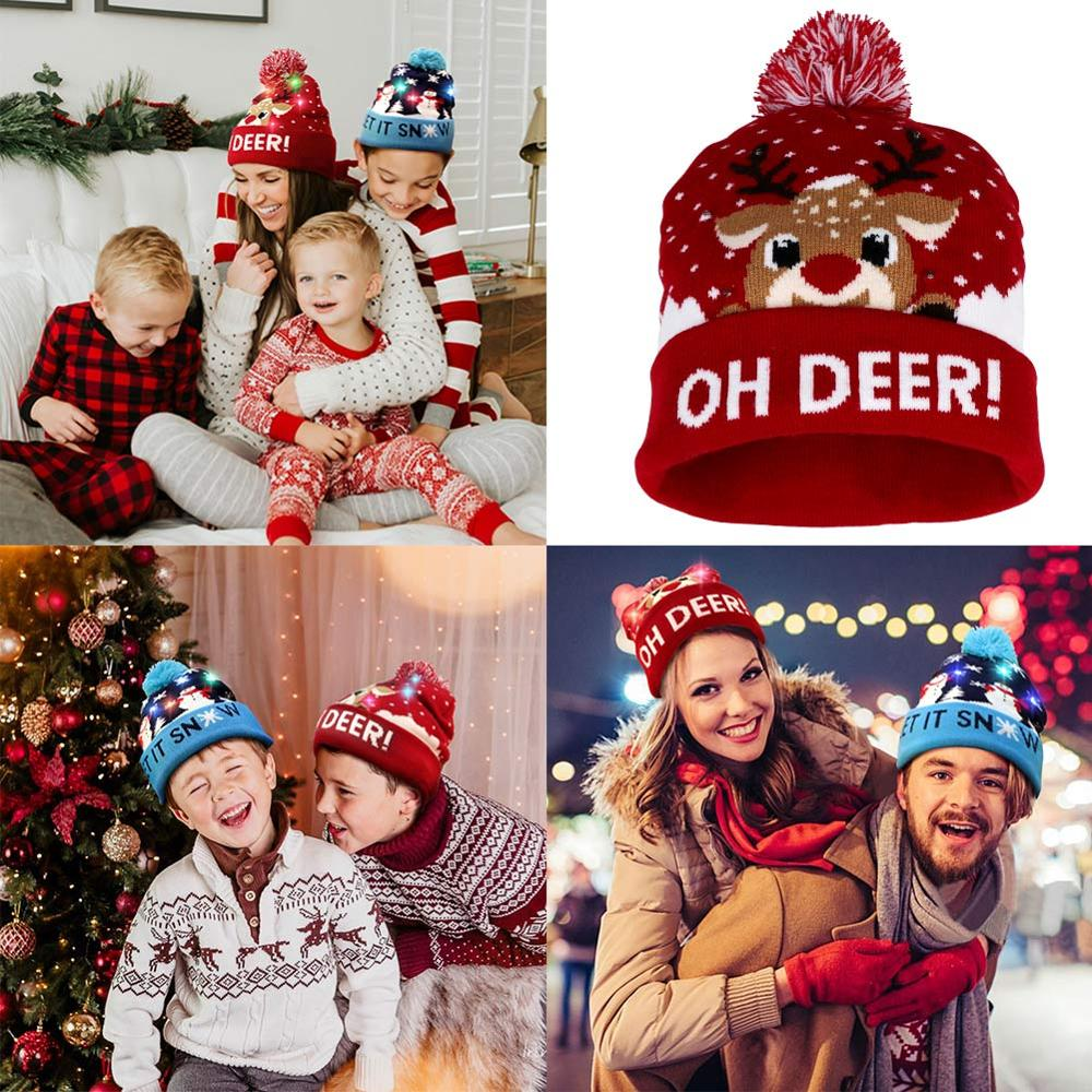 LED Christmas Hat Light Up Knit Hat Warm Children Adults Hats New Year Christmas Tree Xmas