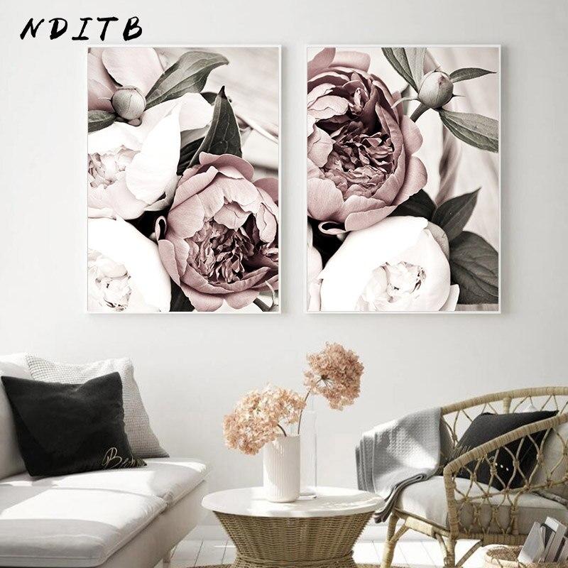 İskandinav pembe beyaz çiçek yaprak bitki Poster Nordic botanik baskı tuval boyama duvar sanatı dekorasyon resim ev dekor