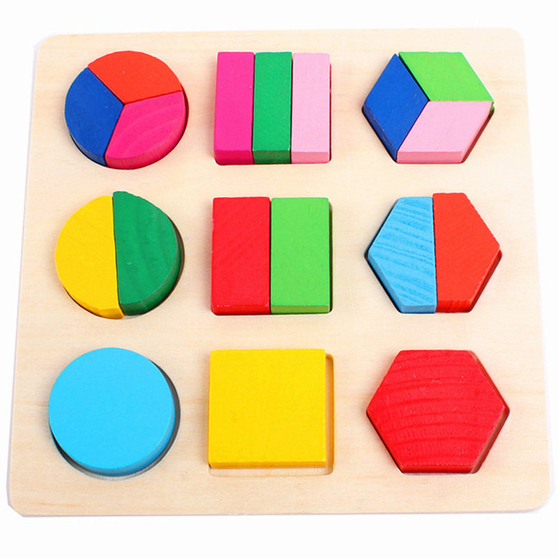Montessori Wooden Puzzle For Kids Learning Educational Toys For Children Learn Geometry Board Wisdom Paired Puzzle Toys