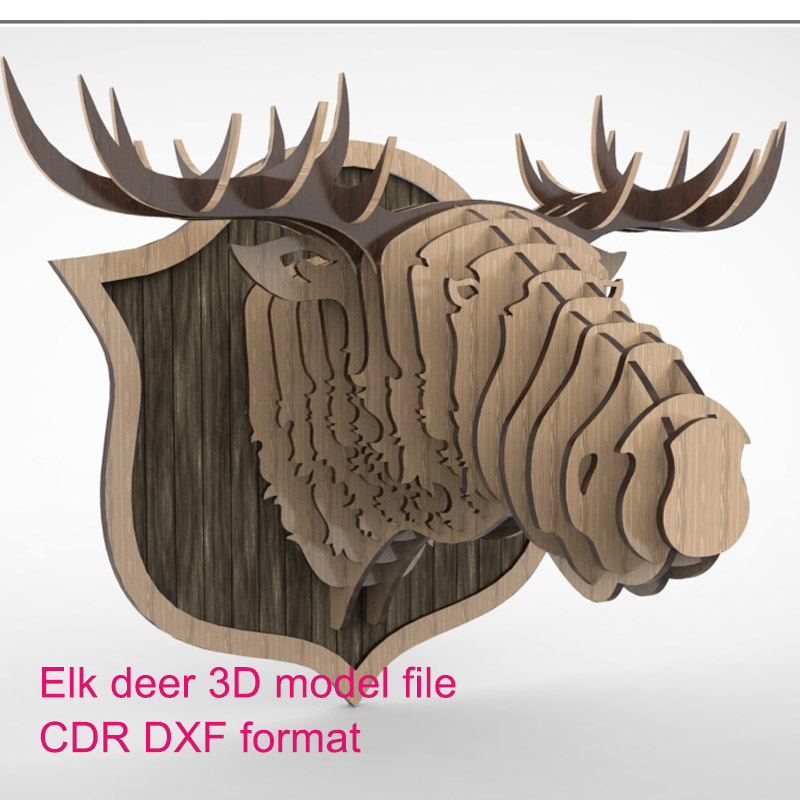 Deer Elk Moose 3D Model CNC Laser Cutting File DXF CDR Format File Vector Design Decoration Drawing