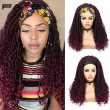 FAVE Curly Faux Locs Crochet Synthetic Wig Long 99j Burg Black Brown Half Headband Scarf Turban Wrap For American African Women