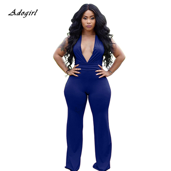 Sexy Deep V Neck Rompers Womens Jumpsuit Elegant Summer Sleeveless Black Wide Leg Pants Office Lady Party Bodycon Jumpsuit Women european and american fashion elegant chiffon jumpsuits piece pants 2018 summer rompers office lady womens jumpsuit