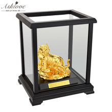 Gold Tiger Ornaments Feng shui Decor Gold foil ornaments Handicraft Zodiac Tiger Desktop Crafts home furnishings With Gifts box(China)