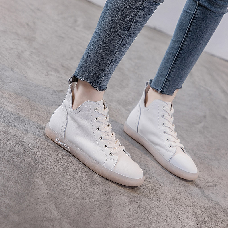Autumn New Leather Tendon Soft Bottom High Top Women's Shoes Sneakers White Shoes Casual Flat Non Slip Pregnant Woman Shoes