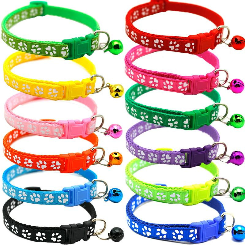 2020 Hot Pets With Bells Cute Little Footprints Pet Collar Adjustable Necklace Nylon Polyester Puppy Dog Supplies