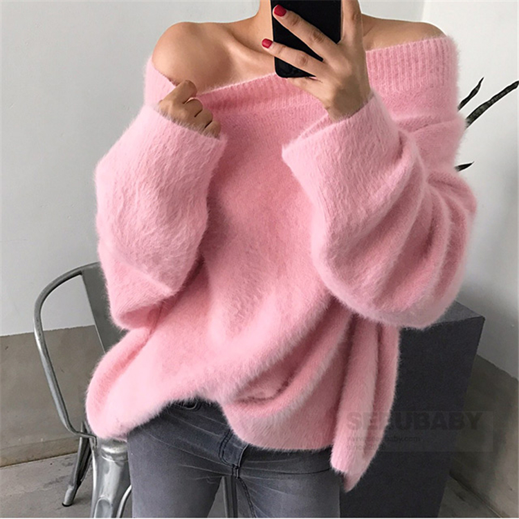 OLOME New 2019 Autumn Winter Women's Sweaters Weed Fake Mink Cashmere Korean Style One Shoulder Loose Ladies Tops Sweaters