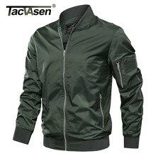 TACVASEN ceketler erkekler sonbahar rahat beyzbol ceket mont askeri ordu bombacı Pilot ceketler dış giyim moda Slim Fit Coats M-4XL