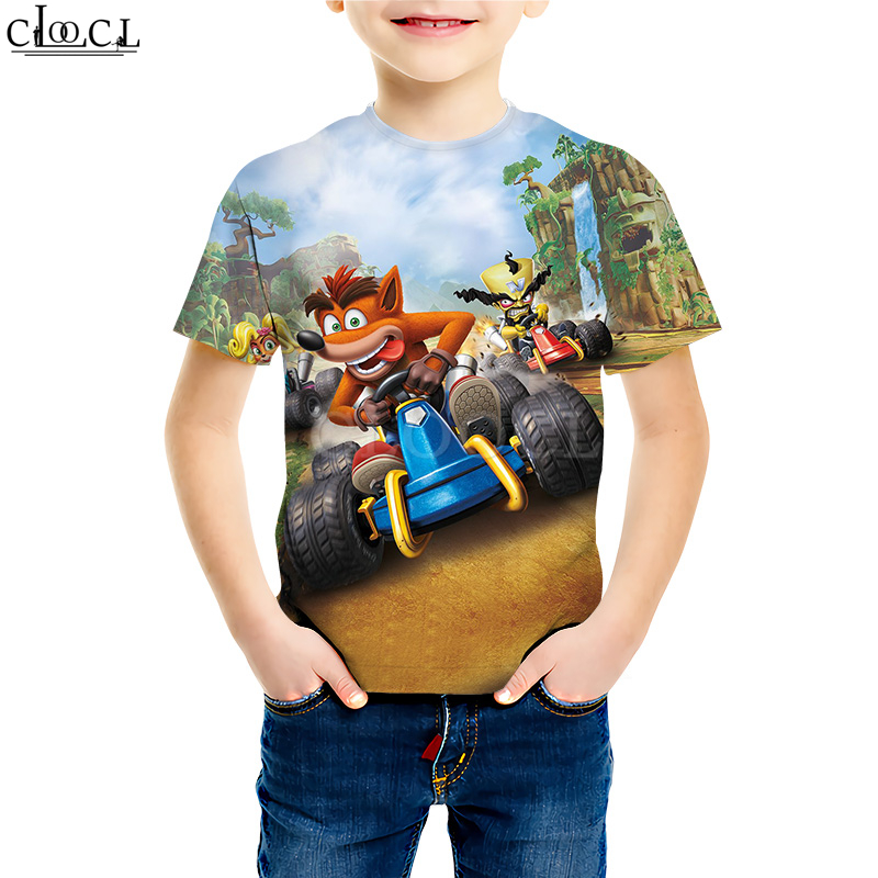 Kids Games Crash Bandicoot T Shirts Boy Girl 3D Print Pattern Classic Anime Game Young Casual Tees Kids Baby Tops