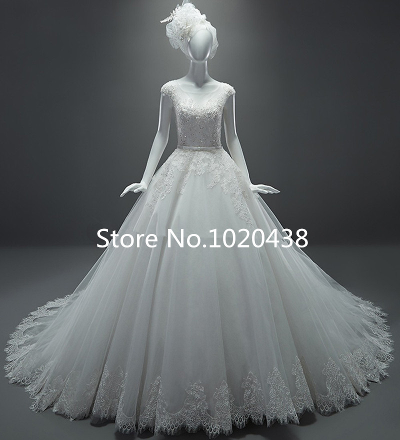 Real Sample Wedding Dresses A-Line See Through Cap Sleeves Sash Chapel Train Lace Wedding Dress Vestido De Casamento 2015